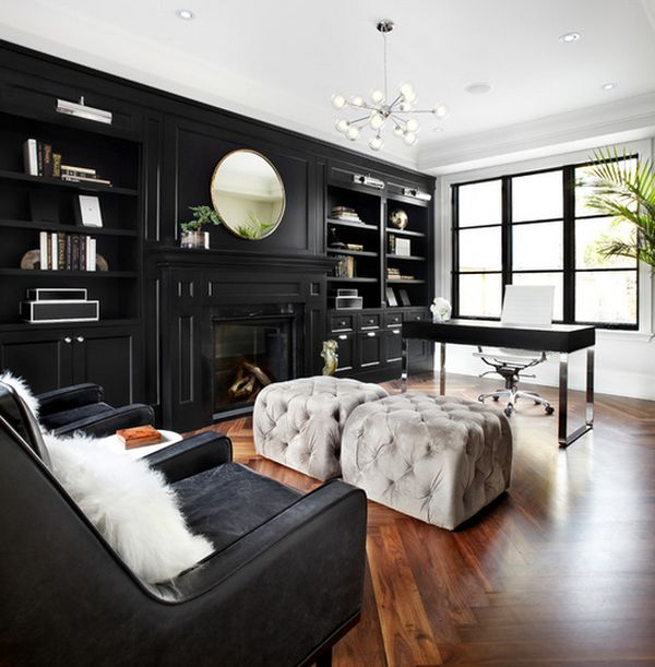 Color design ideas with black furniture for Home office design 10x10