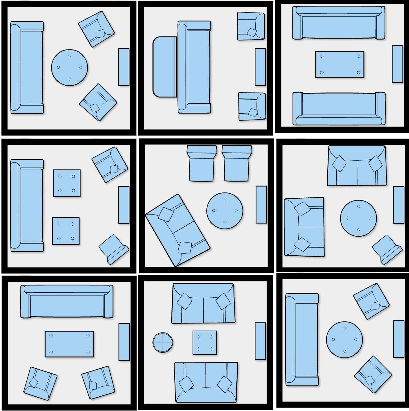 How to efficiently arrange the furniture in a small living for Small living room floor plan