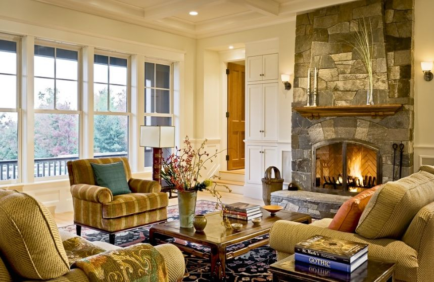How to arrange the furniture around a fireplace for Living room furniture arrangement with fireplace