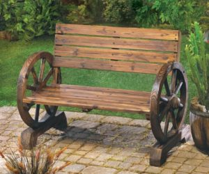 The Rustic Wagon Wheel Garden Bench