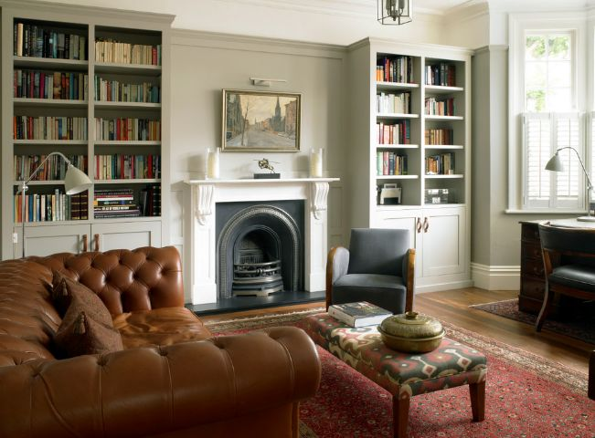 Add symmetry with tall bookcase