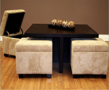 Superieur Small Coffee Table With 4 Integrated Ottomans