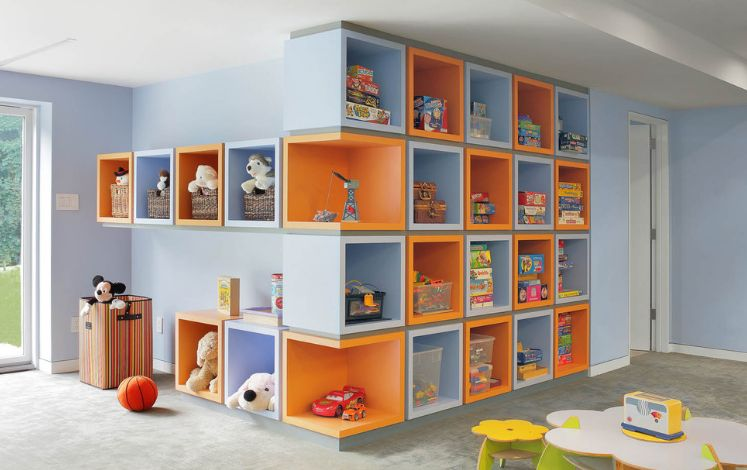 Colorful playroom furniture