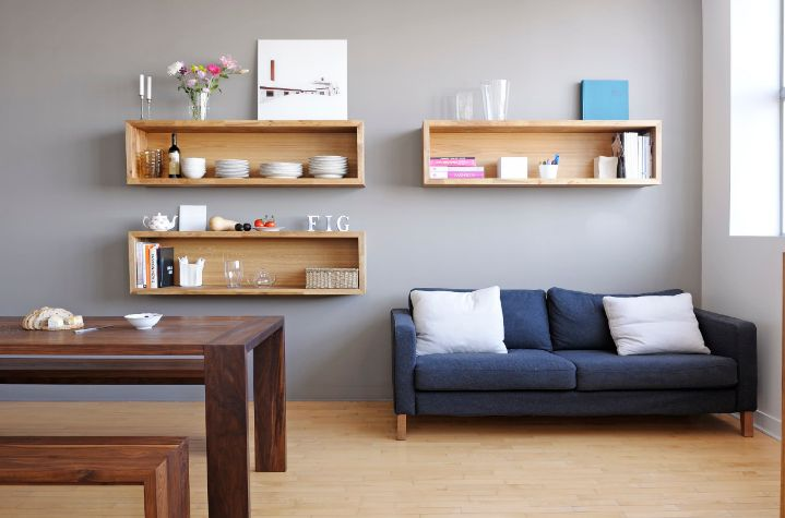 Geometric wall shelves for storage