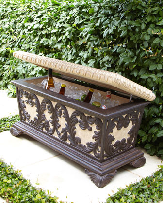 Elegant Outdoor Bench With Cooler Incorporated