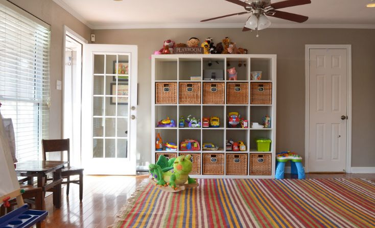 Kids room shelves with cubbies storage
