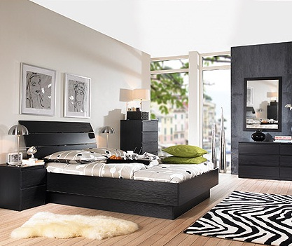 Laguna Full Bed, Black Woodgrain