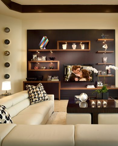 Living room wall unit with a geometric design