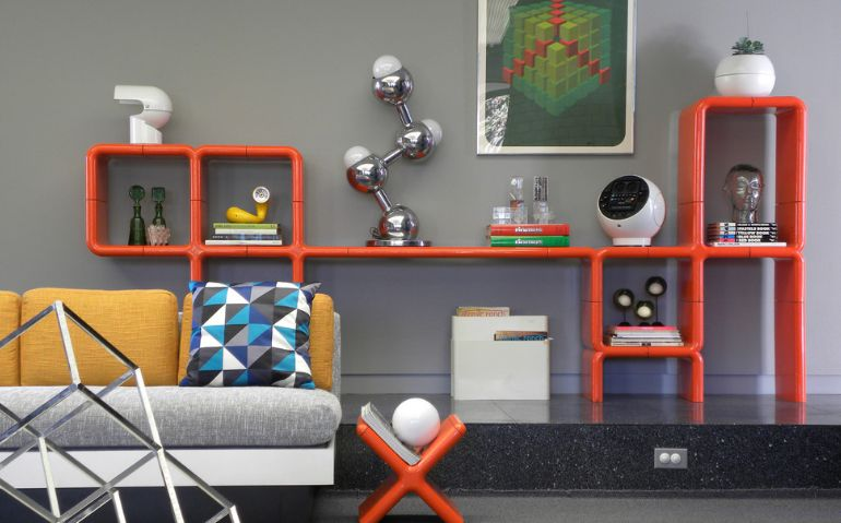Modern orange geometric furniture