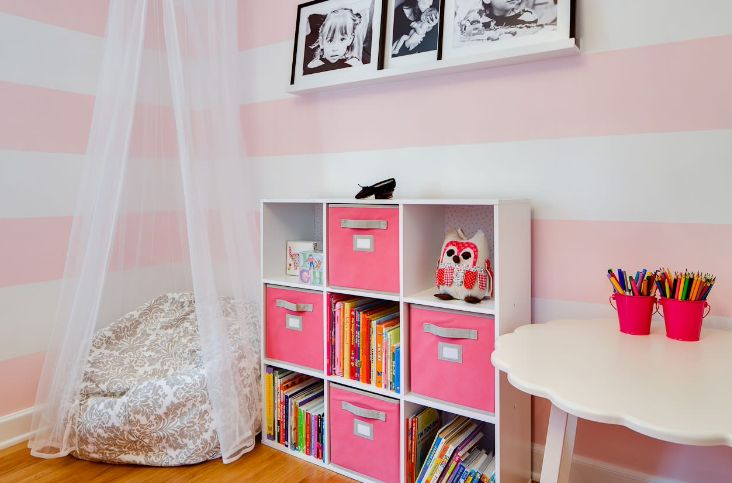 Pink girl room storage