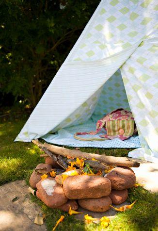 Rocks tent fireplace