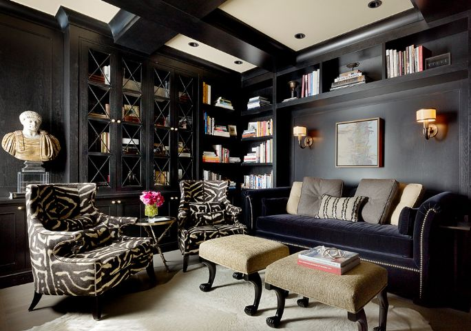 Small black living room design