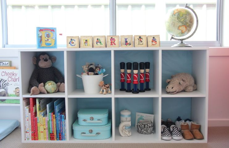Storage for kids room in white