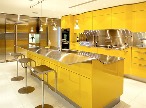 Lovely Sparkling Yellow Kitchen Design By Snaidero