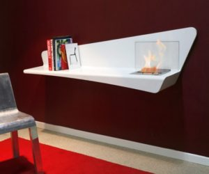 Bookshelf with fireplace incorporated