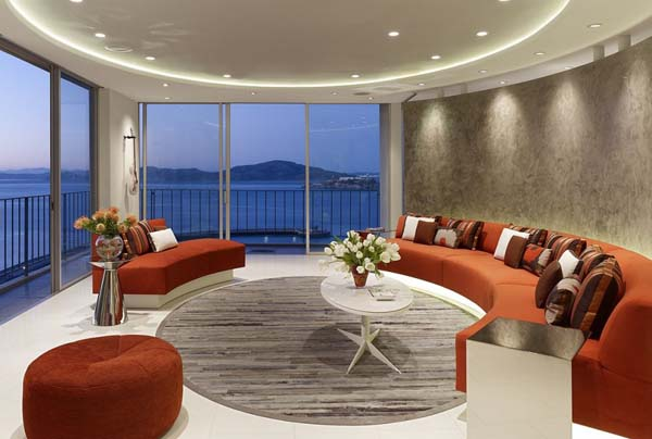 San francisco apartment with circular living room design for Design appartement interieur maroc