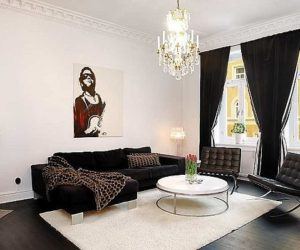 A very chic apartment in Vasatan featuring a black and white décor