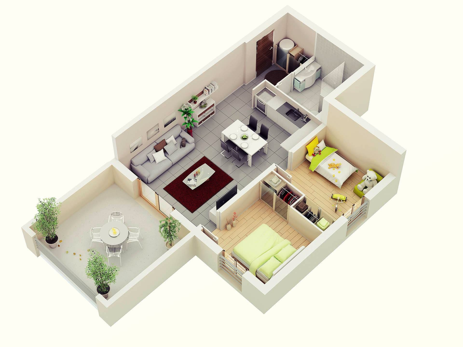 Understanding 3d floor plans and finding the right layout for Maison container 50 m2