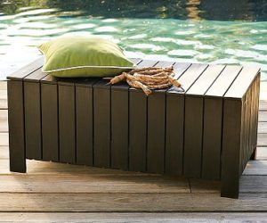 Chocolate storage bench for outdoor use