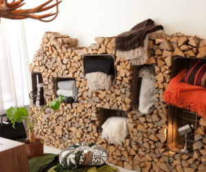 A Rustic Indoor Firewood Storage Idea
