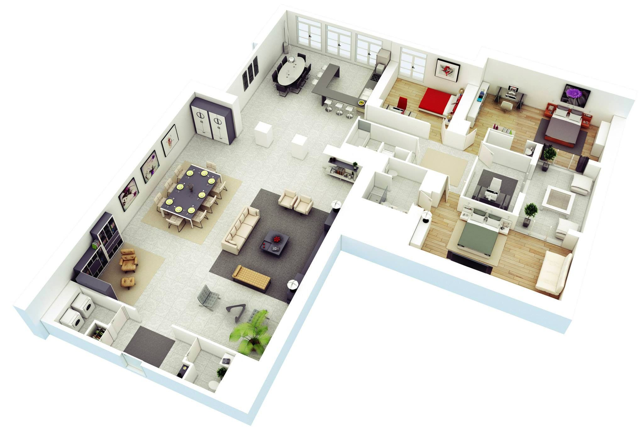 l shaped floor plan for 3 rooms apartment