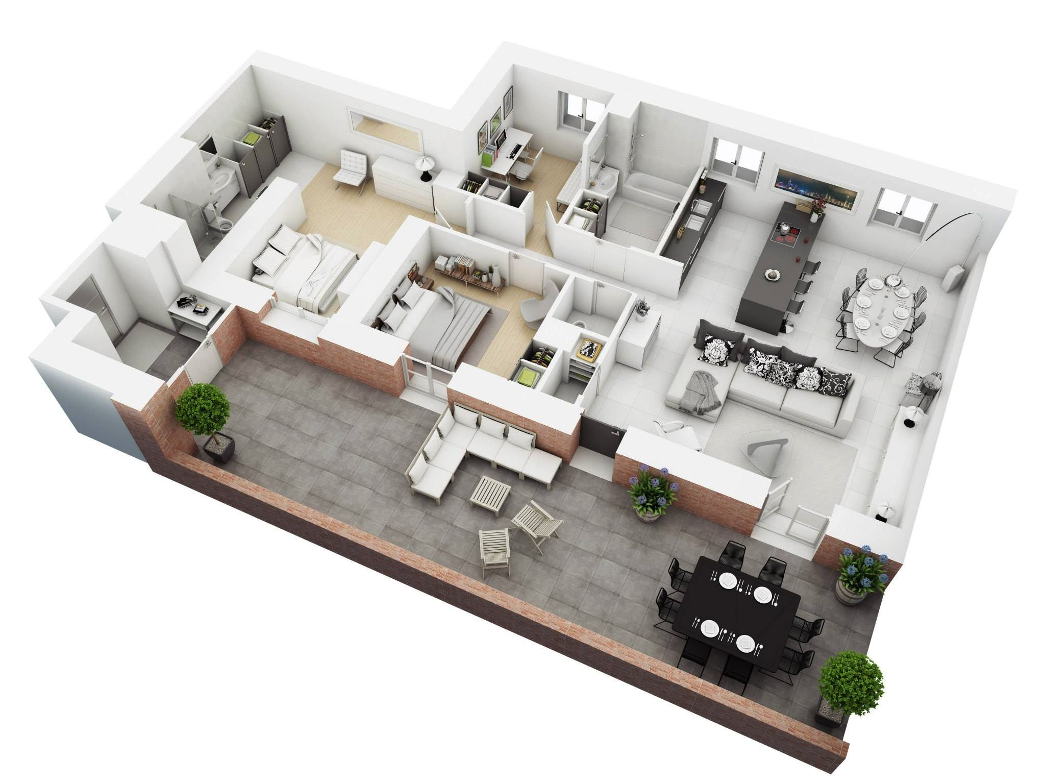 Understanding 3d floor plans and finding the right layout for Three bedroom flat plan