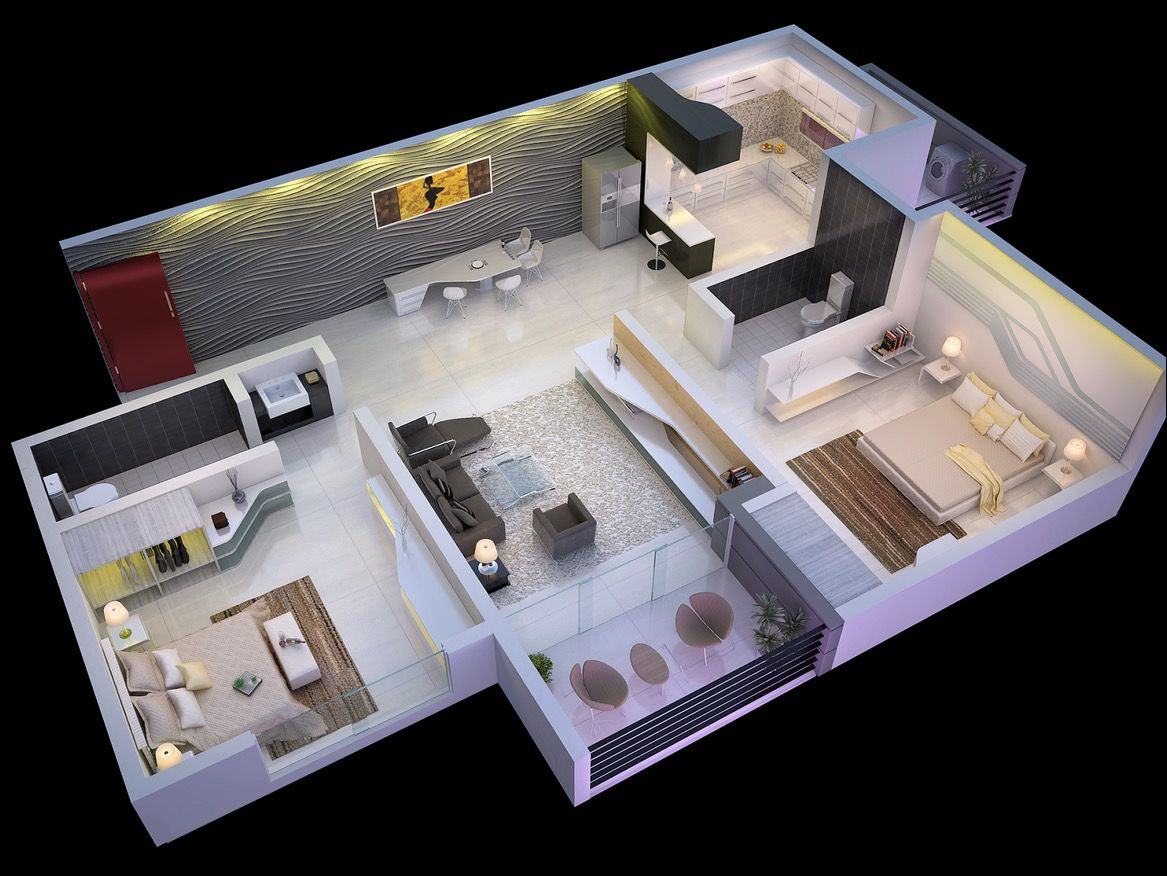 2 Bedroom Floor Plans.