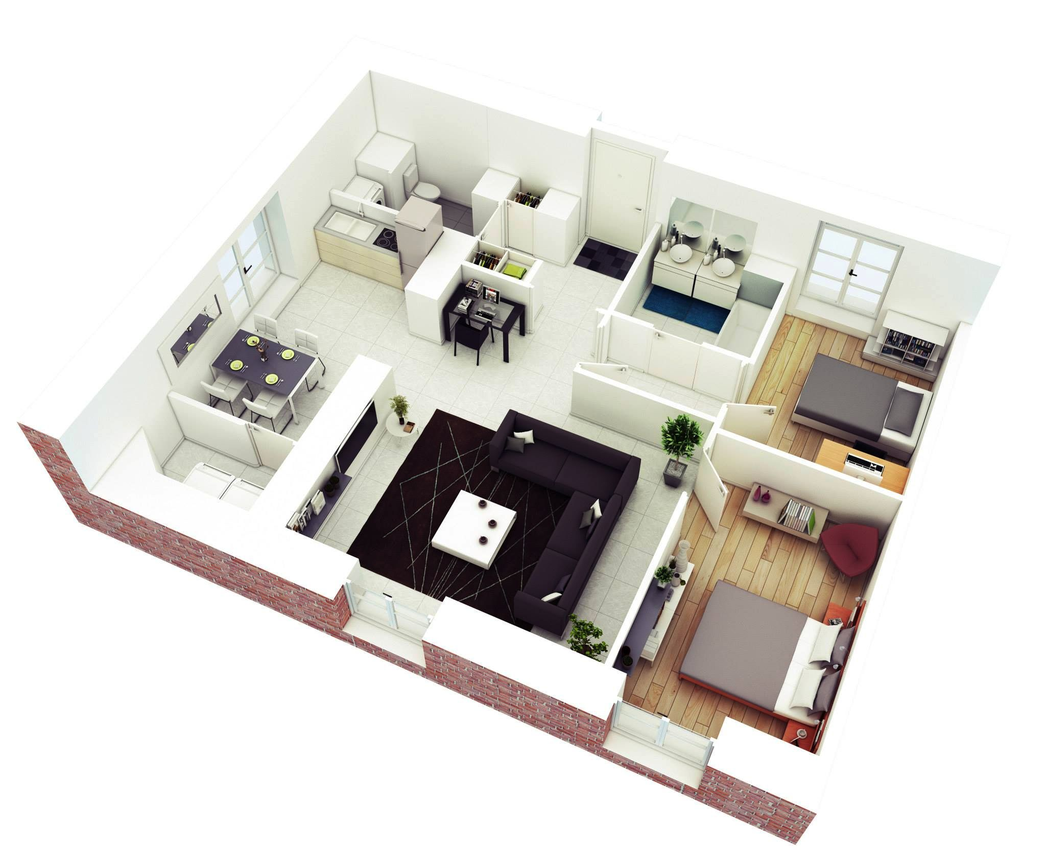 2 bedroom floor plans - 3d Plan For House