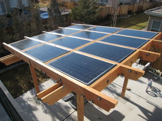 Solar landscape project with a pergola