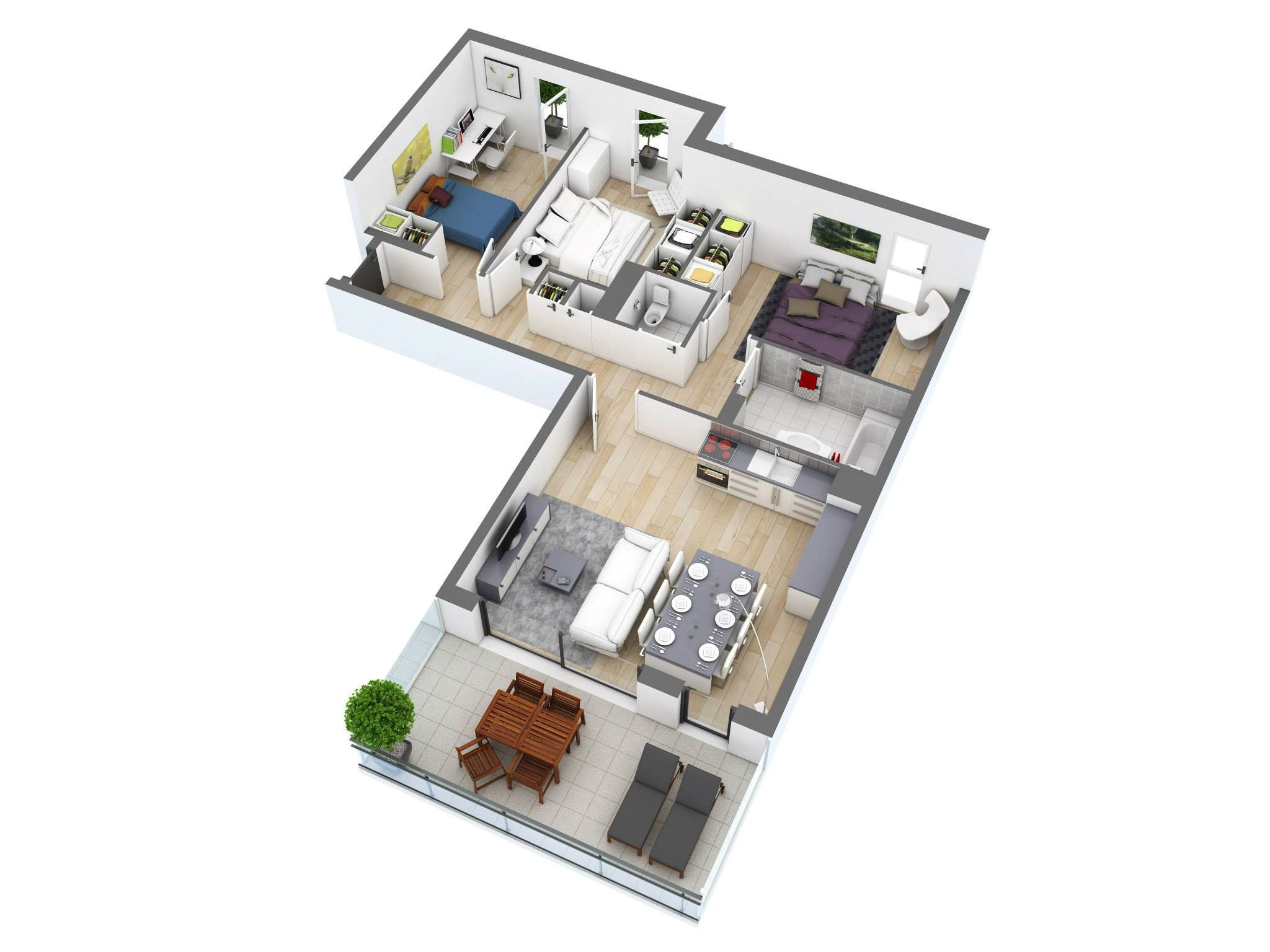 3 bedroom floor plans - 3d Floor Planning