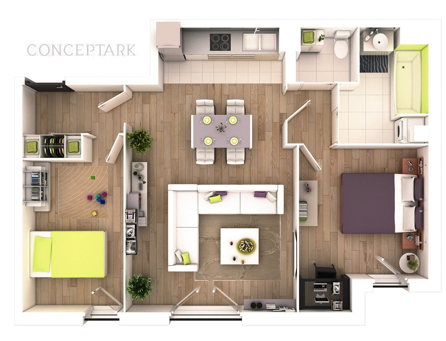 Understanding 3d floor plans and finding the right layout for Simple two bedroom apartment design