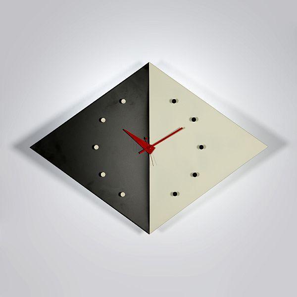 Diamond Shaped Black And White Clock