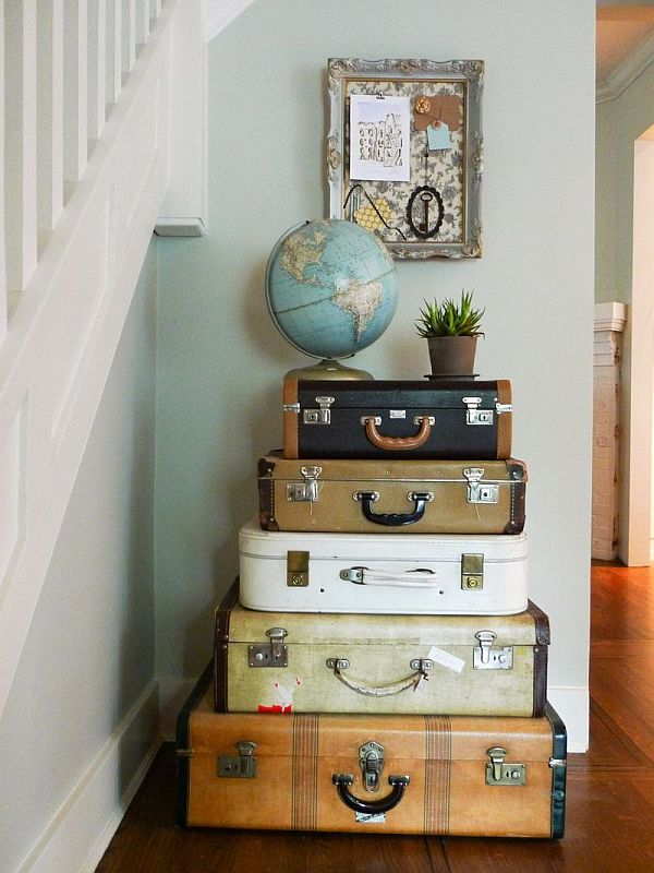 Vintage luggage home decor Retro home ideas