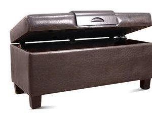 Beautiful leather-covered storage bench
