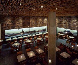 Wonderful Wood, Concrete and Twigs Restaurant Design by Sebastian Marsical Studio