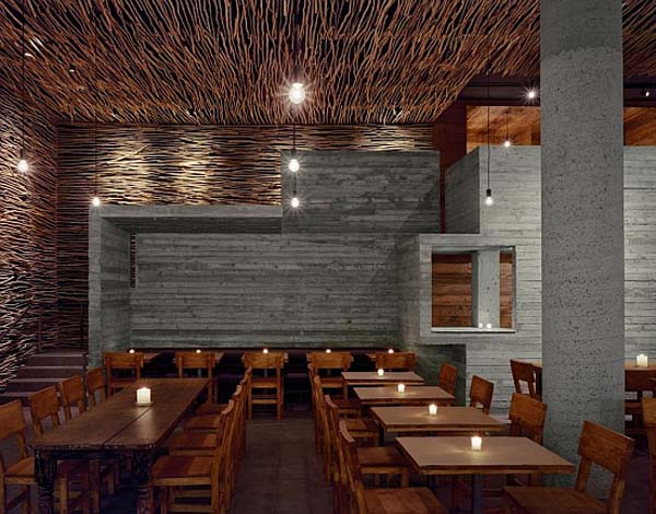 Wonderful wood concrete and twigs restaurant design by - Decoracion de restaurantes rusticos ...