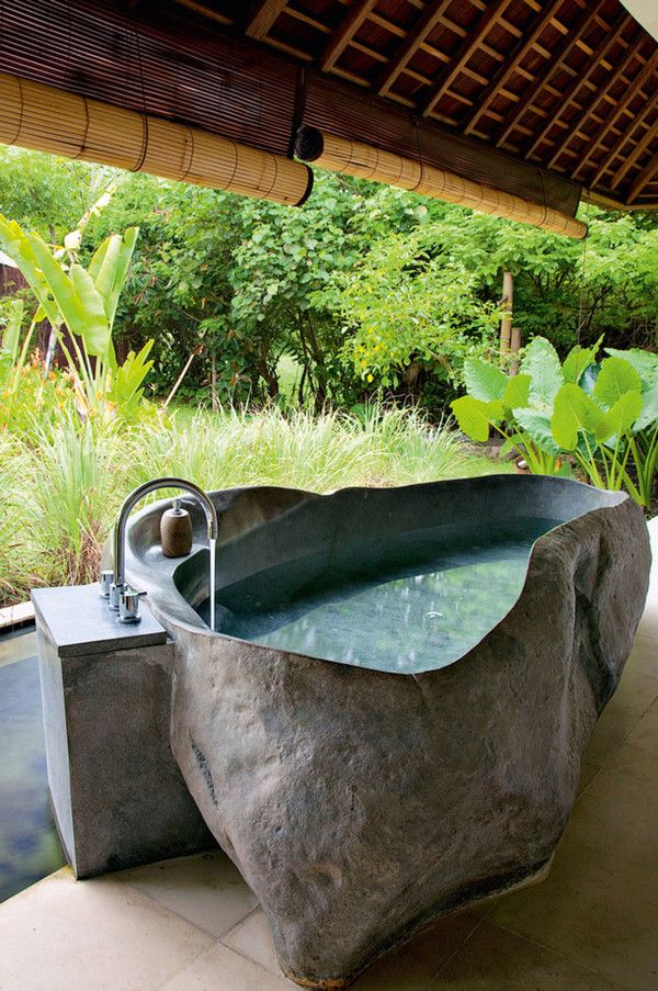 getting in touch with nature soothing outdoor bathroom designs. Black Bedroom Furniture Sets. Home Design Ideas