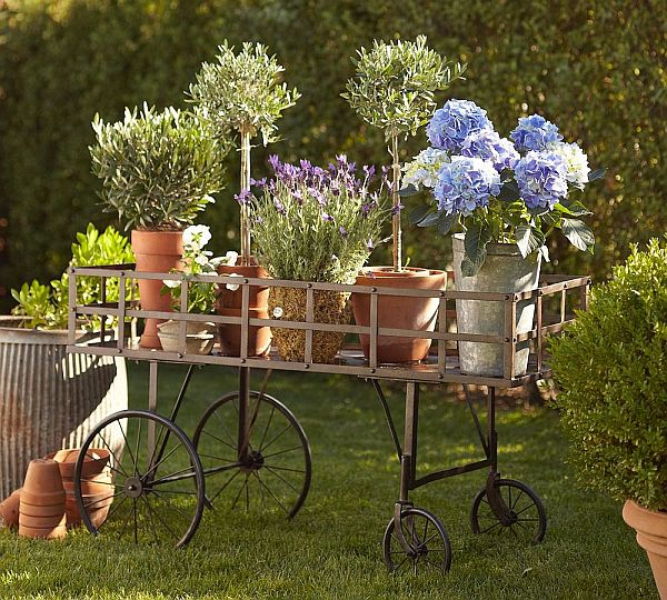 Perfect Metal Push Cart For Your Garden Great Pictures