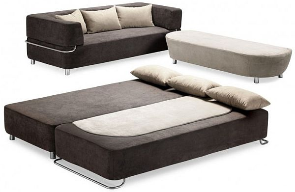Functional 3 Piece Collection Sofa Bed And Ottoman