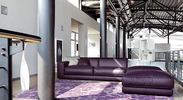 Purple Leather Sofa By Ditre Italia View In Gallery