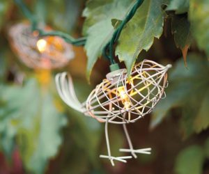 Wire bird string lights for the outdoors