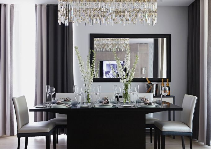 13 reasons why black dining tables work in any interior chandelier over dining table aloadofball Images