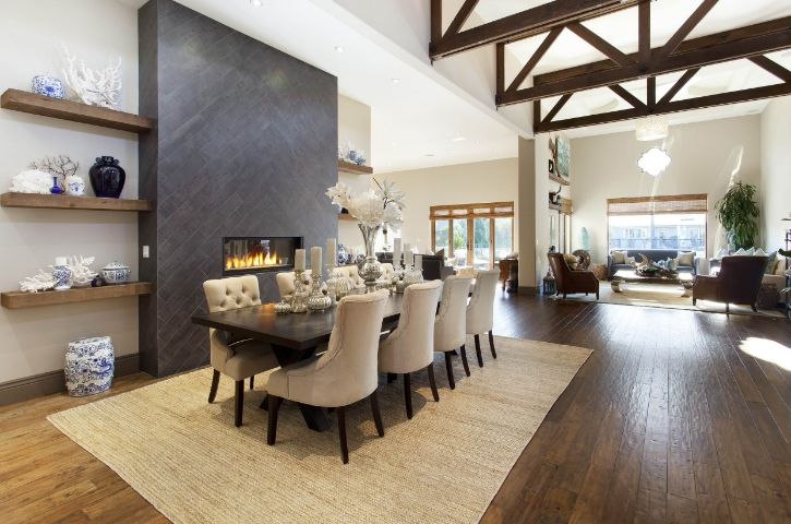 Large open space living room with black dining table