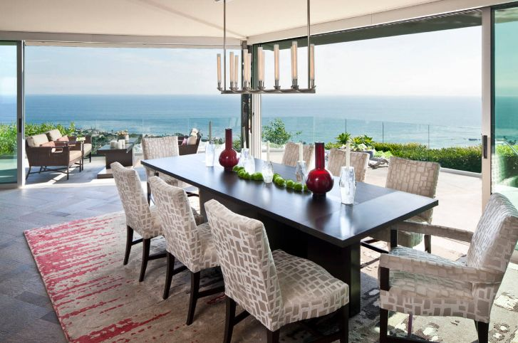 Large rectangular dining table ocean view