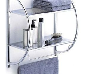 Modern 2-tier shelf with towel bars for the bathroom