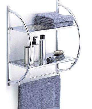 Modern 2-tier shelf with towel bars for the bathroom