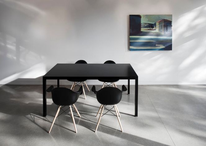 Scandinavian inspired black dining table