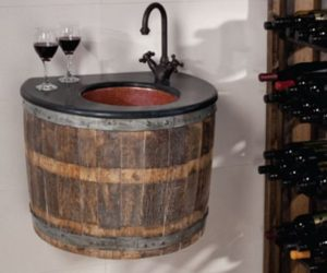 Original Bathroom Furniture Made of Old Wine Barrels