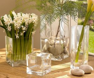 Square glass vases
