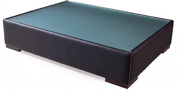 Modern leather coffee table with glass top and wooden legs Coffee table with leather top